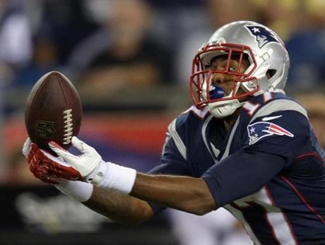 Aaron Dobson had this Tom Brady pass in his hands but couldn't make the catch.